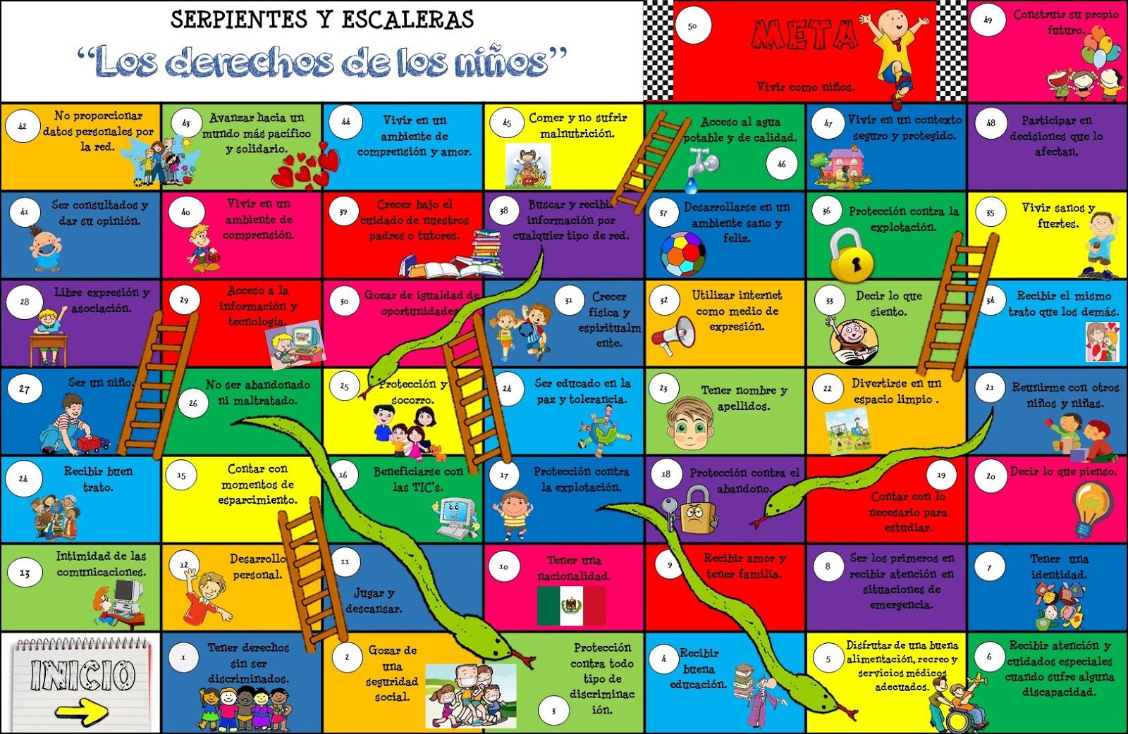 Serpientes Y Escaleras Derechos De Los Ninos Portafolio De