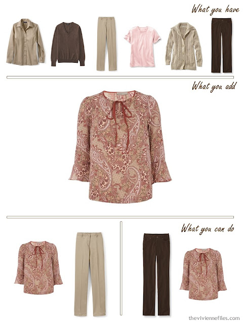 add a paisley blouse to a brown, khaki and pink wardrobe