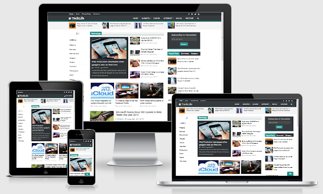 Download Free TechLife Blogger Template Full Responsive Blogger