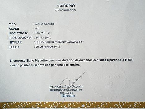 Registro Senapi grupo Scorpio