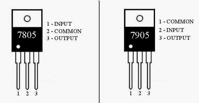 pinout diagram of 7805 and 7905 is given below in 7805