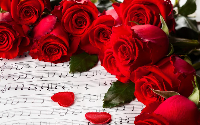 pictures of valentine red rose flowers with music track book