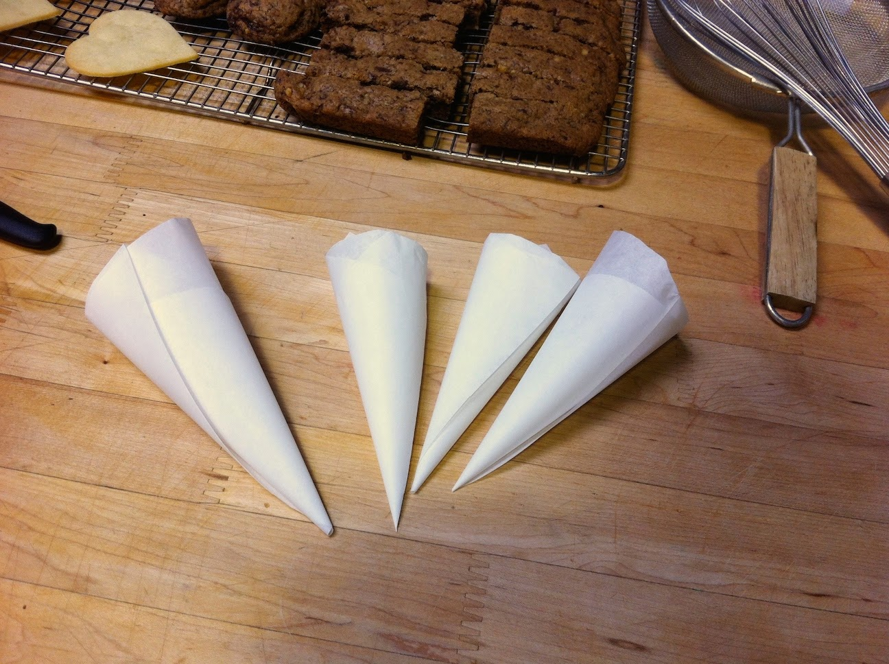 Parchment piping bags.
