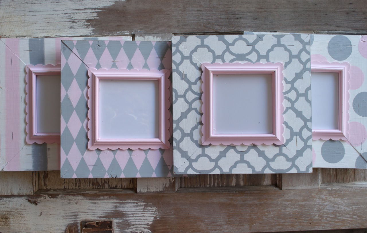 Grey And Pink Delta Girl Distressed Frames Pink And Grey Nursery