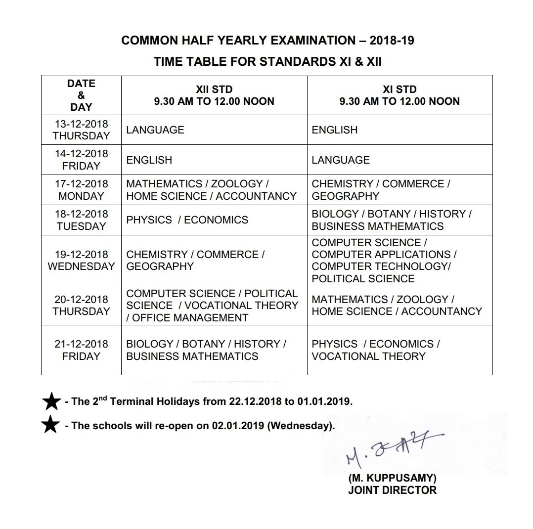 Half Yearly Exam Time Table