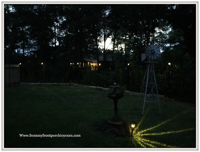 Backyard Landscape- Iron Fencing-Solar Lights-From My Front Porch To Yours