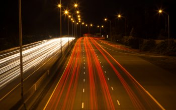 Wallpaper: Night time on highway