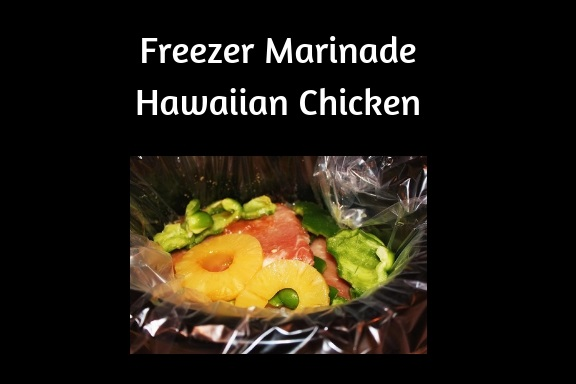 this is a delicious marinade for chicken or pork for freezing . Later when ready to cook you can place the thawed meat that was marinated in pineapple Hawaiian juice and spices and cook any way you like, This is how to make freezer marinades for later chicken skewers Hawaiian style