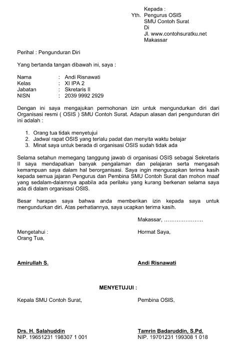 Contoh Surat Pengunduran Diri Dari Organisasi Osis Terbaru