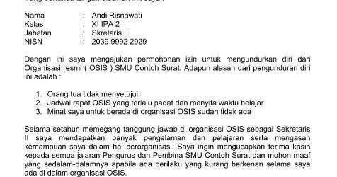 Contoh Surat Pengunduran Diri dari Organisasi (OSIS) Terbaru Format