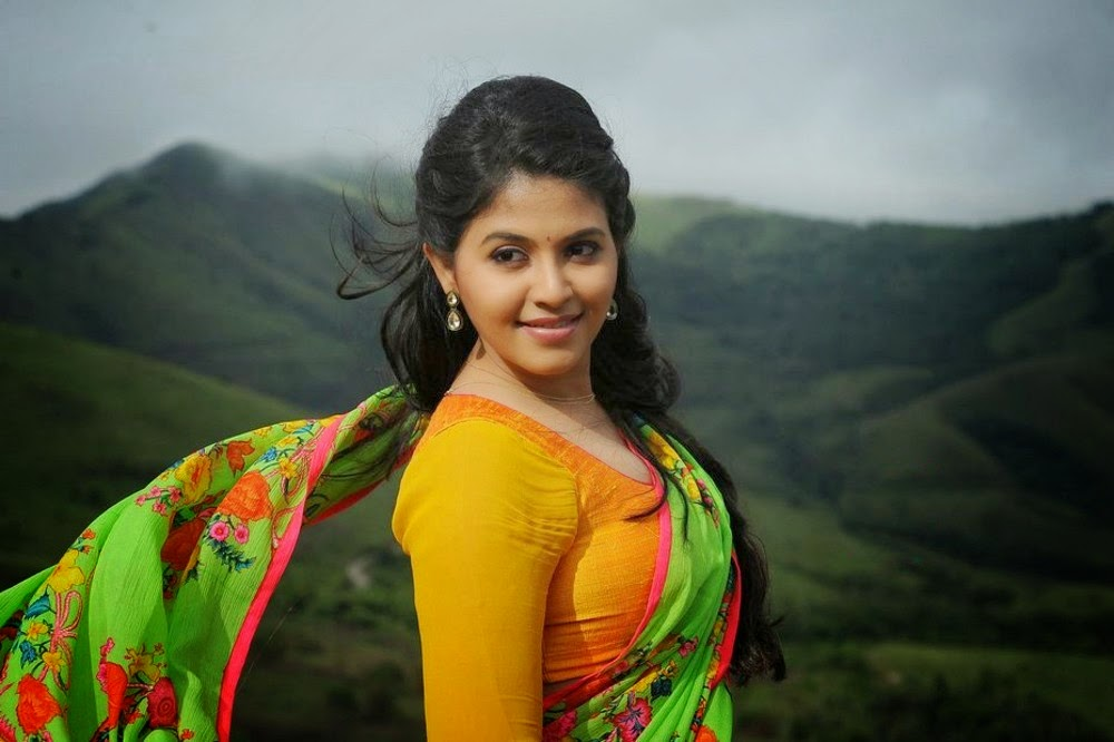 South Hot Anjali Latest Chubby Navel Show In Saree Stills