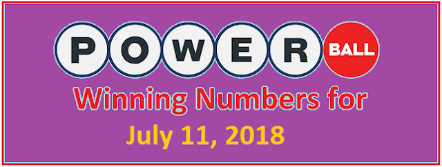 PowerBall Winning Numbers for Wednesday, 11 July 2018