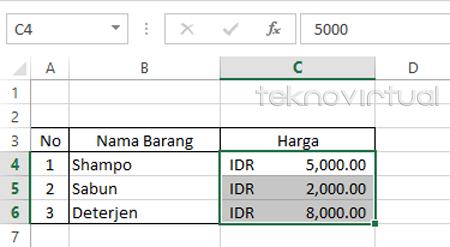 Indonesia Rupiah Pada Microsoft Excel 2013 4