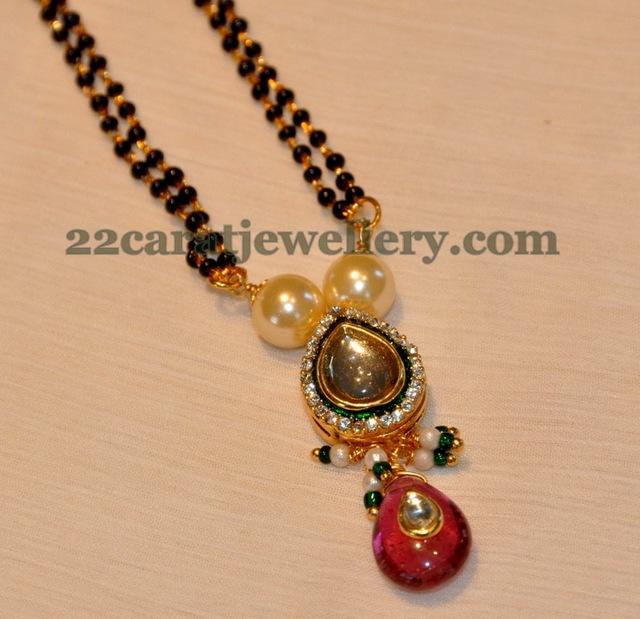 1 Gram Beads: 1 Gram Gold Black Beads Set