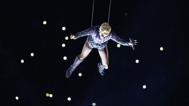 Watch Lady Gaga's half-time performance at #SuperBowl51 as she dives into Super Bowl history