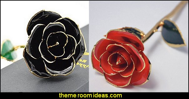 Love Forever Long Stem Dipped 24k Gold Foil Trim Roses gothic style