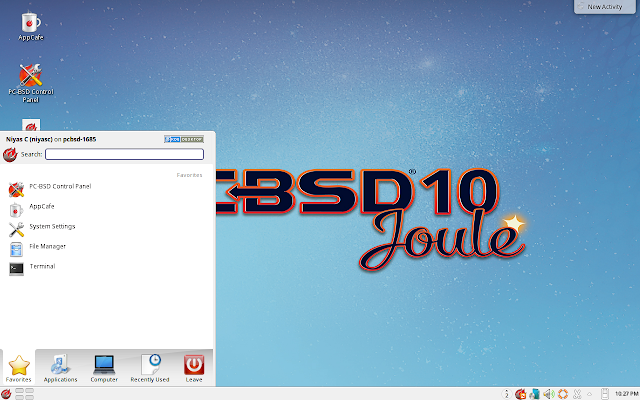 PC-BSD Main Menu
