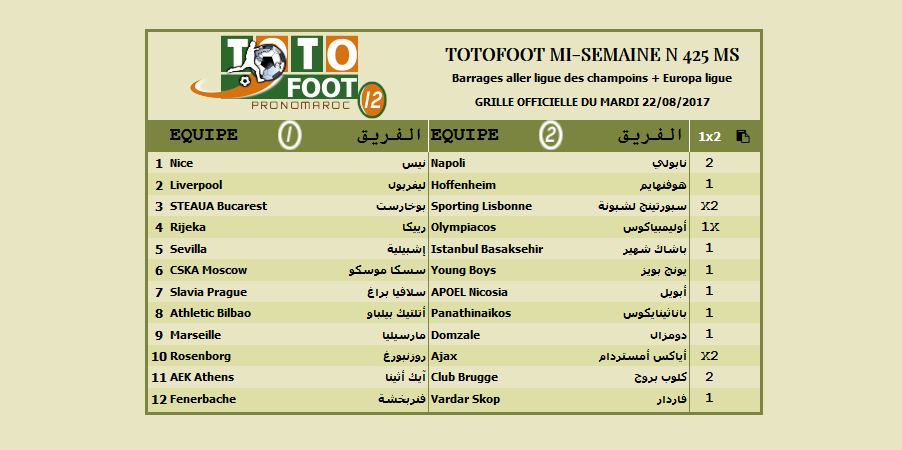 PRONOSTIC TOTOFOOT MI-SEMAINE N 425 MS