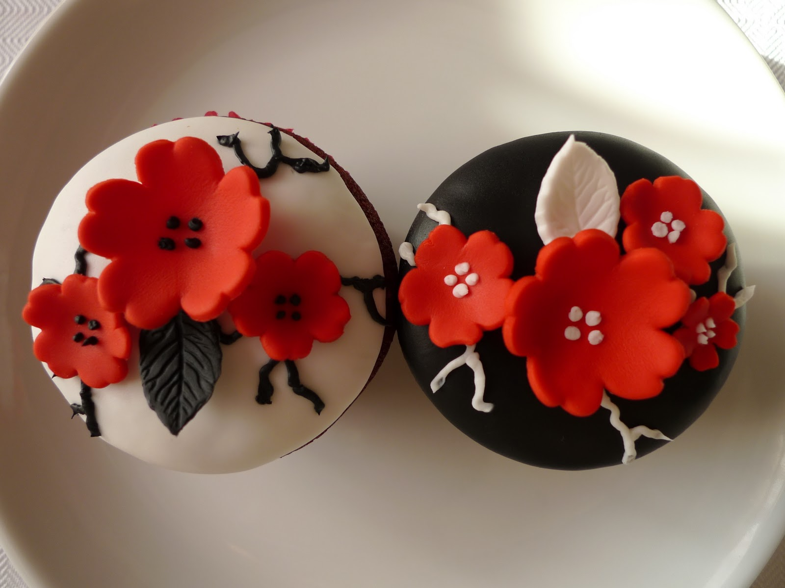 cakebee red cherry blossom cupcakes