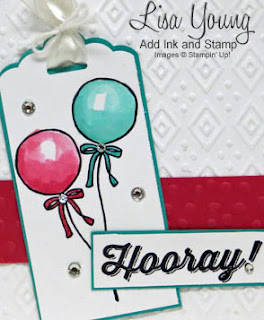 Stampin' Up! Honeycomb Happiness stamp set. Stampin' Up! Perfect Pairings stamp set. Sale-a-bration. Easy Birthday cards with balloons. Handmade card by Lisa Young, Add Ink and Stamp