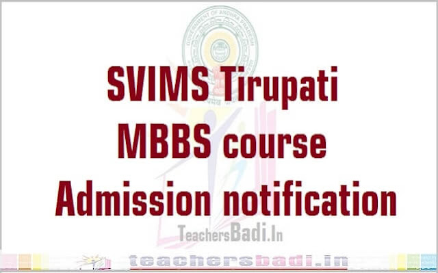 SVIMS,MBBS course,Admissions