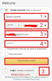 Amazon पर अकाउंट कैसे बनाएं/How To Create Account In Amazon In Hindi