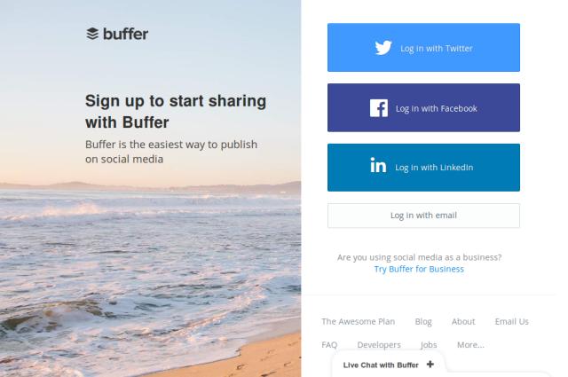 Buffer - análise e gerenciamento de perfis em redes sociais twitter facebook para empreendedores e marqueteiros