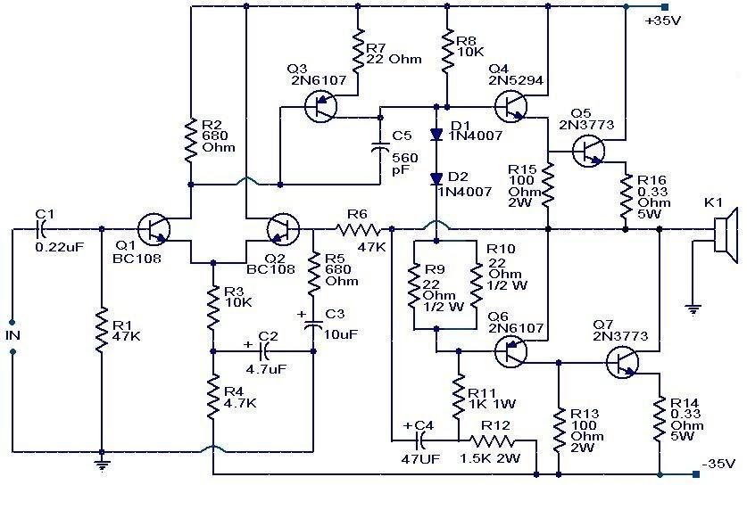 100W Subwoofer Amplifier Circuit   audio wiring diagram