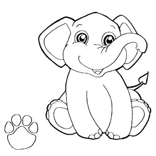 Cute Baby Elephant Paw Coloring Pages