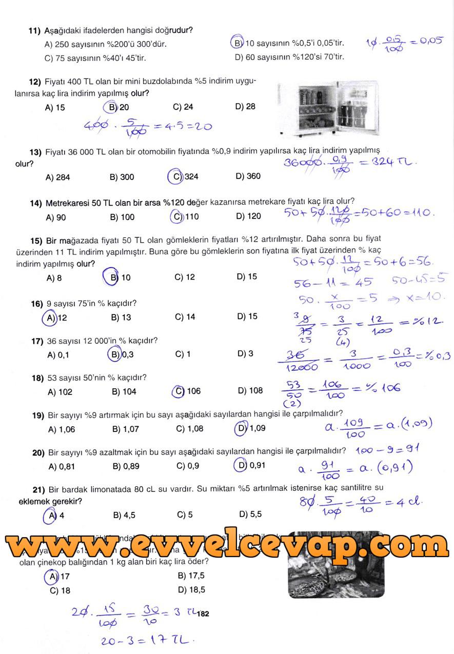 7. Sınıf Gizem Yayınları Matematik Ders Kitabı 182. Sayfa Cevapları 3. Ünite Değerlendirme Çalışmaları