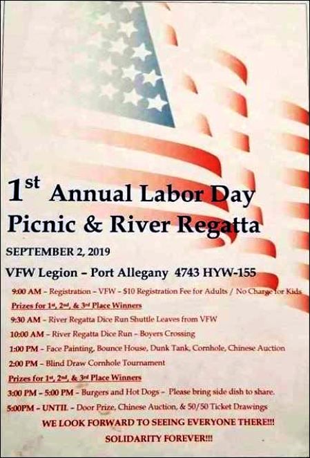 9-2 Labor Day Picnic & River Regatta, VFW Port Allegany