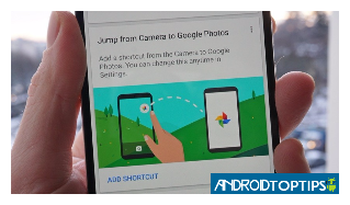 How to add Google Photos shortcut to Android device camera