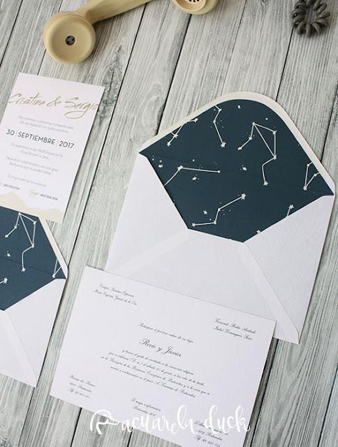 Invitación boda estrellas