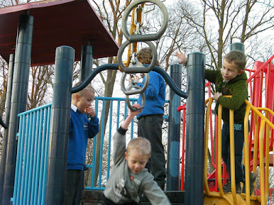 monkey bars and climbing frame in the park