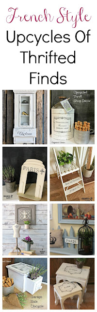 French Style Upcycles of Thrift Shop Finds #stencil #imagetransfer #chalkpaint
