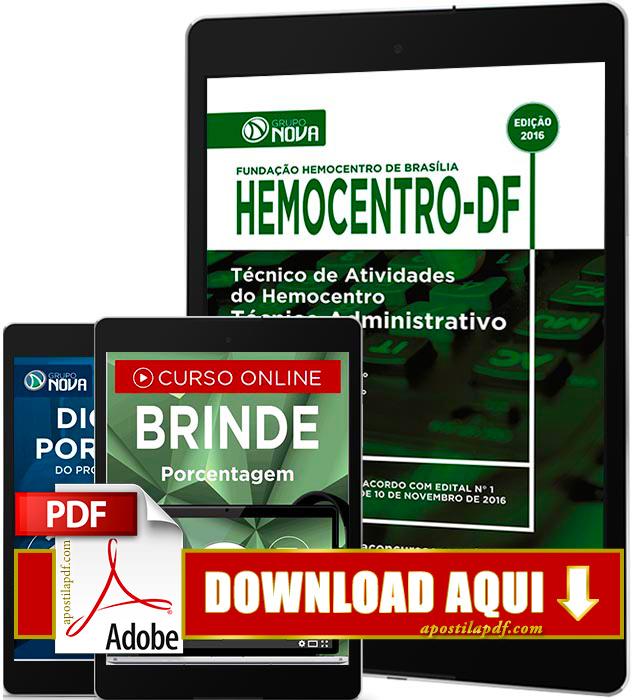 Apostila Hemocentro DF 2016 PDF Download Técnico Administrativo