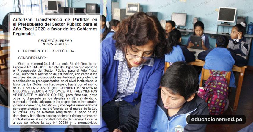 Transfieren más de S/ 18 millones para pagar beneficios a docentes y auxiliares de educación nombrados y contratados (D. S. Nº 175-2020-EF)