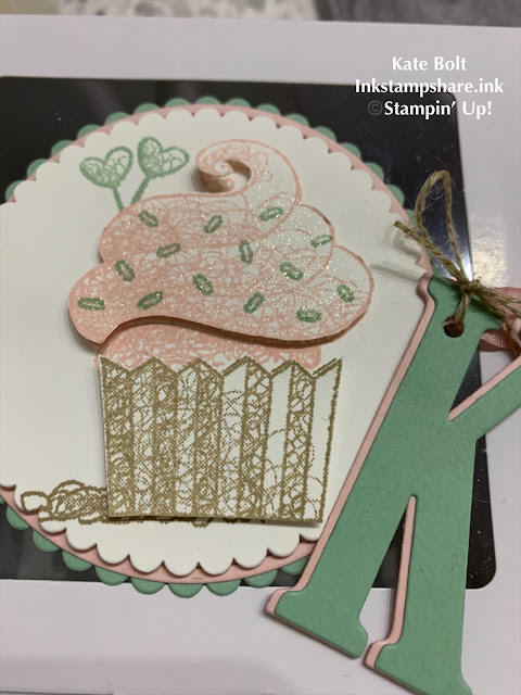 Cupcake party box decorated with a large cupcake stamp from Hello Cupcake and a Monogram for a party cake box