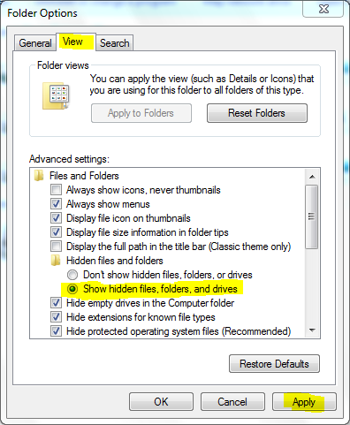 Folder options, Enable hidden files