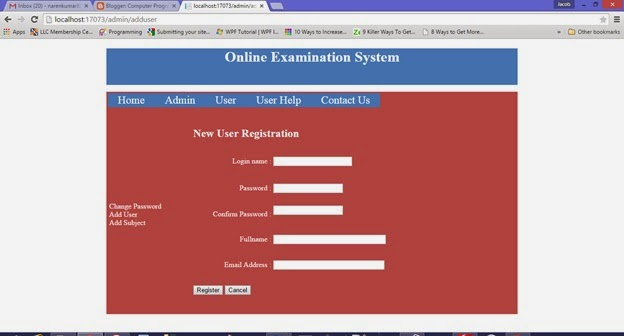 registration page of online examination system
