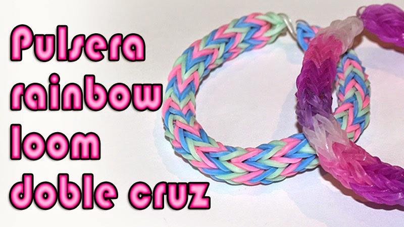 pulsera rainbow loom doble cruz