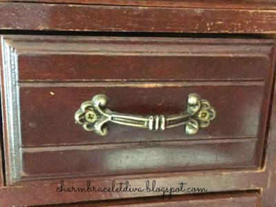 1980's vintage jewelry armoire drawer before paint transformation