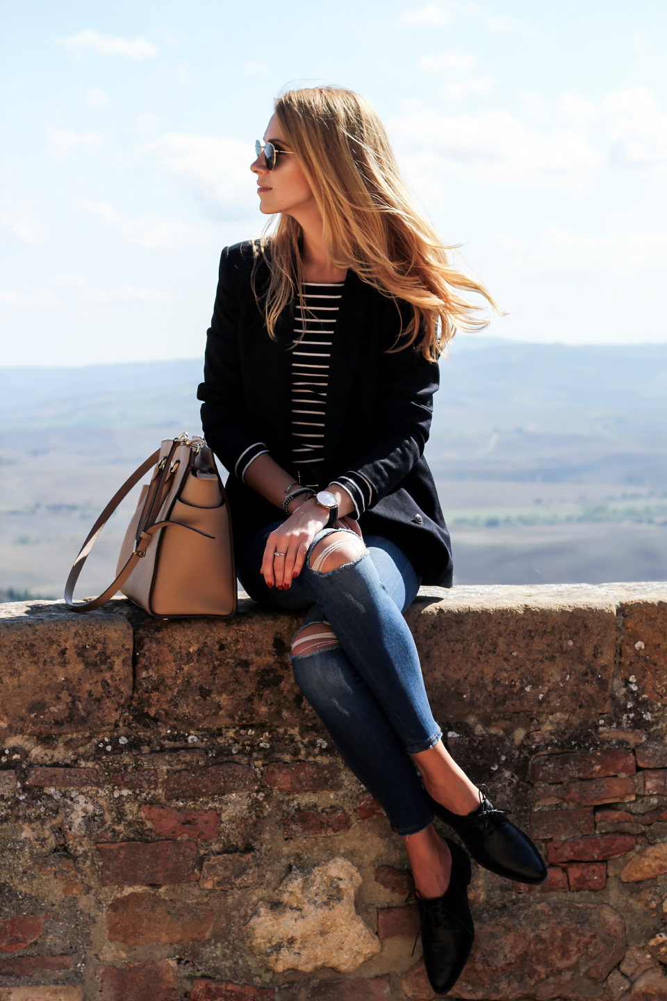 black blazer, striped top, distressed jeans, casual outfit