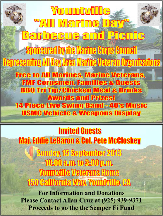 Yountville CA All Marine Day Barbecue and Picnic 91513