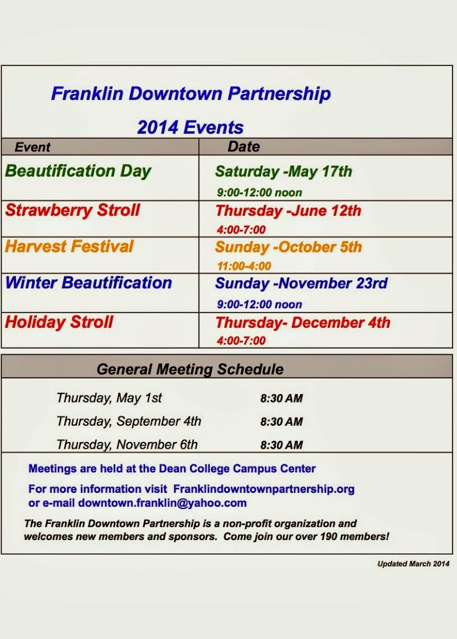 Franklin Downtown Partnership - 2014 event dates