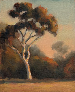 Oil painting of a eucalypt with background vegetation and an apricot-tinged sky.