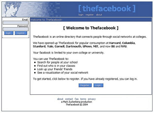 Facebook Log-in Page 2004