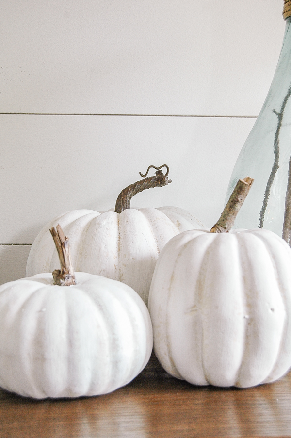 Chalk painted faux pumpkins that look real