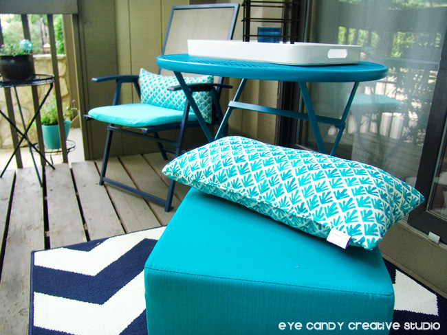 chevron rug, Target finds, patio makeover, patio chairs, aqua patio stool