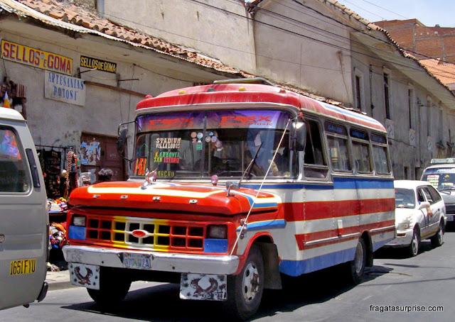 ônibus em La Paz, Bolívia